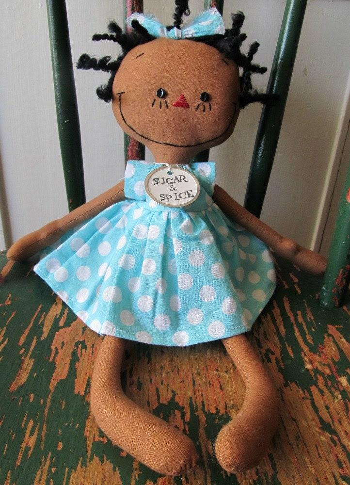 cloth rag doll African American handmade in Aqua and White Polka Dots