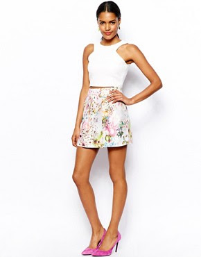 Image 1 of River Island Pretty Floral Print Mini Skirt