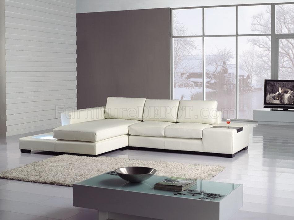 White Leather Modern Elegant Sectional Sofa w/