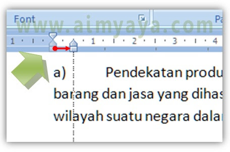 Gambar: Cara membuat penomoran (numbering) manual  di microsoft word
