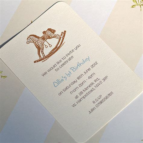 personalised rocking horse invitation by beautiful day