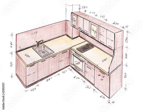 Photo Modern Interior Design Kitchen Freehand Drawing