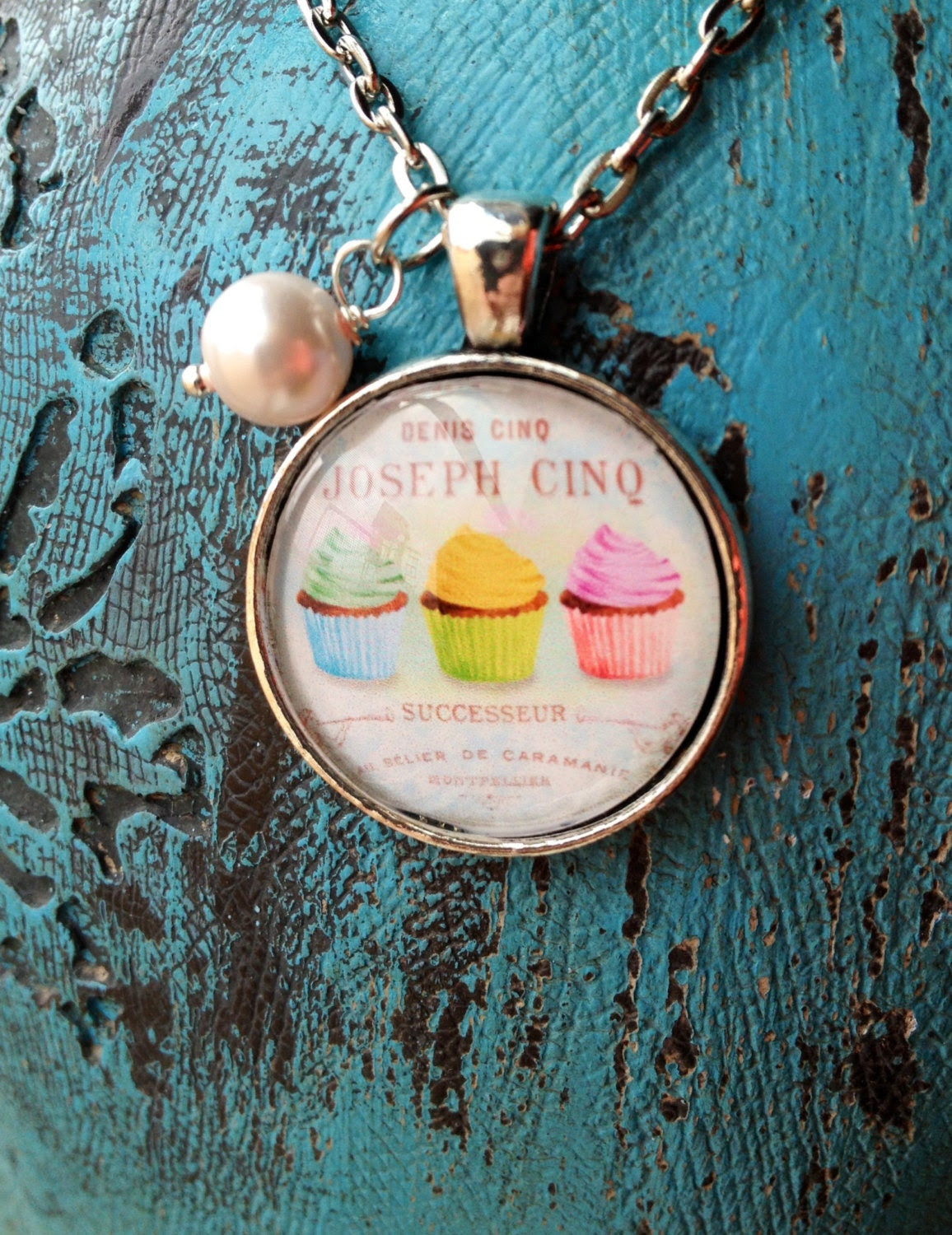 Vintage French Cupcake Necklace
