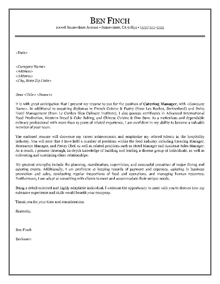 Hospitality Cover Letter