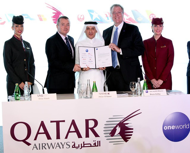 Qatar Airways CEO with the official signing