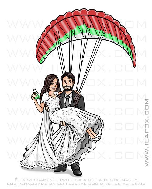 caricatura casal, caricatura noivos, caricatura casal no parapente, caricatura divertida, caricatura noivinhos, ila fox