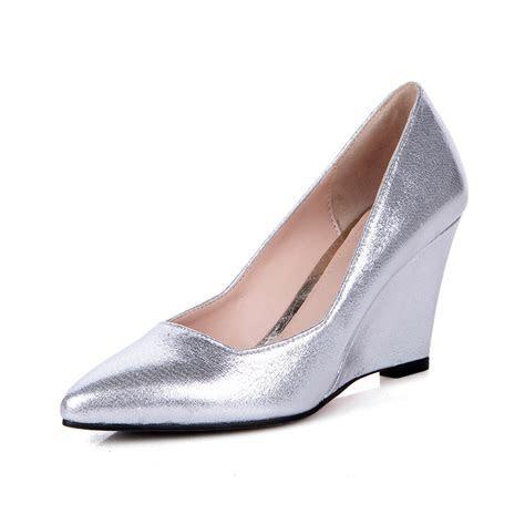 Online Get Cheap Silver Wedge Wedding Shoes  Aliexpress