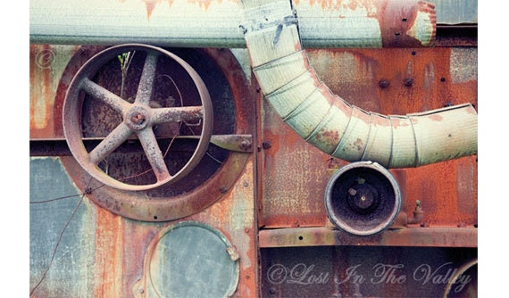 Rusty Farm Equipment Photo, Still Life Photography, Rust Orange, Grey, Slate Blue, Brown, Fine Art Photography, Rustic Decor, Adirondacks - LostInTheValleyPhoto