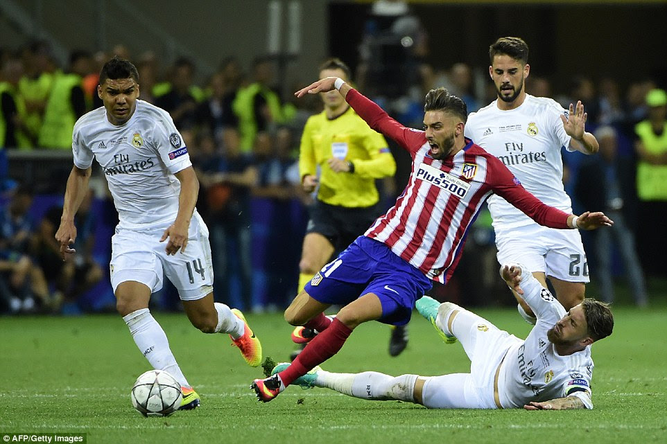 Ramos was booked for a cynical challenge on Carrasco as the midfielder broke clear with options both sides of him late in the second half