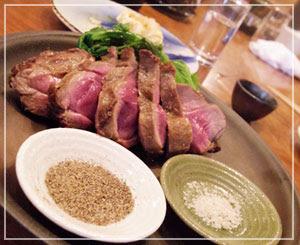 津田沼「和酒バル鈴家」にて、蝦夷鹿のグリル。ばっちりな焼き加減!