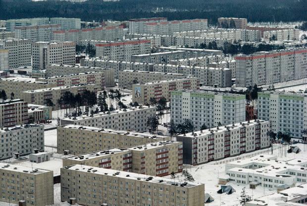 Cidade fantasma de Pripyat, evacuada devido ao acidente em Chernobyl.