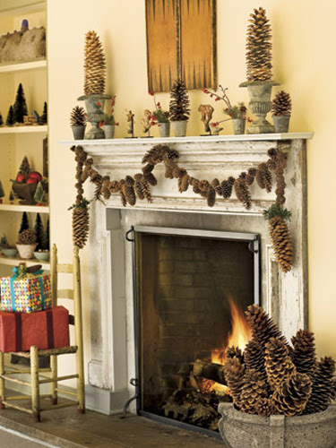 Brawny sugar pinecone swags anchor a mixed-cone garland above the fireplace. Make it yourself with a variable-speed drill and braided picture-hanger wire. Place inverted cones in urns to create quick-and-easy pinecone topiaries. RELATED: How to Preserve and Clean Pinecones