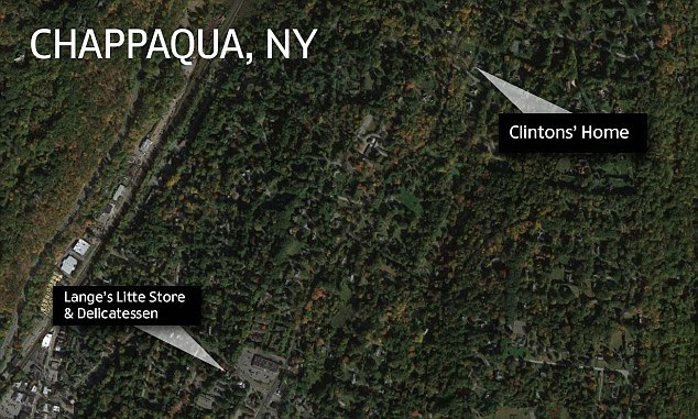 The deli is just down the road from the Clintons' house on a leafy street. They bought the residence in 1999