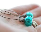 Teal Earrings, Teal Artisan Glass and Gunmetal - Evergreen