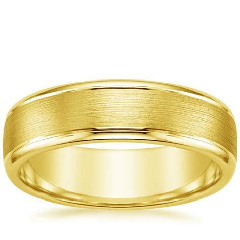 6mm Beveled Edge Matte Wedding Ring with Grooves in 18K