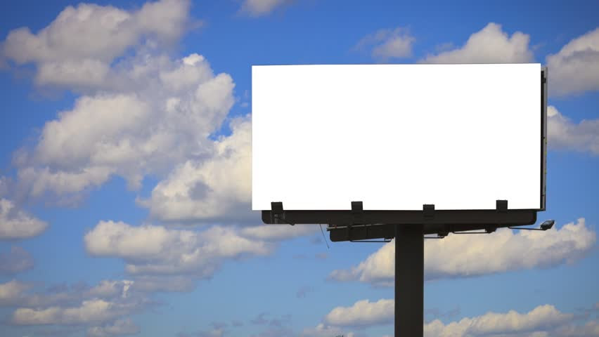 Advertising Billboard High In The Sky, Left Blank For Titles ...