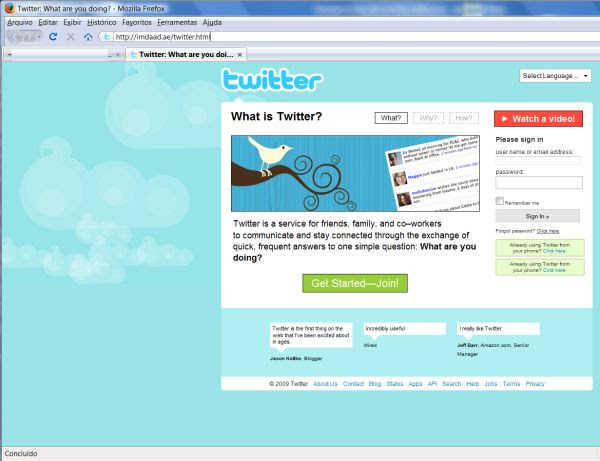 tela falsa twitter