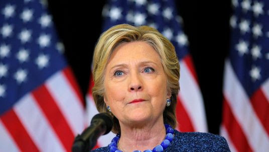 Hillary Clinton at her hastily arranged news conference
