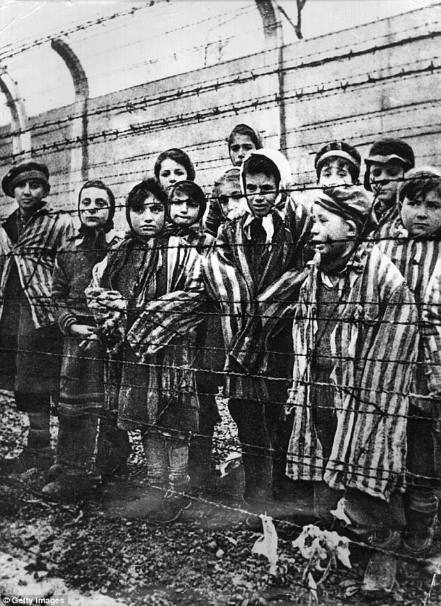 Child survivors of Auschwitz-Birkenau at the camp on the day of its liberation by the Red Army