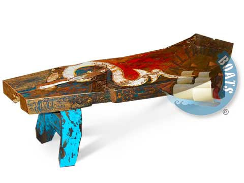recycled boatwood furniture bench