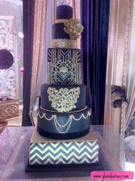 Ornate Navy and Silver Wedding Cake that would have gone