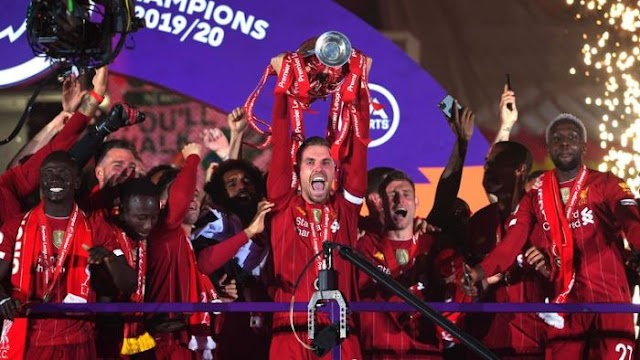 CHAMPIONS!! Watch #Liverpool Lift Premier League Trophy For The First Time In 30 Years (See Video)
