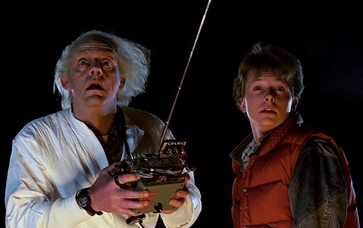 Christopher Lloyd and Michael J. Fox as Doctor Emmett Brown and Marty McFly