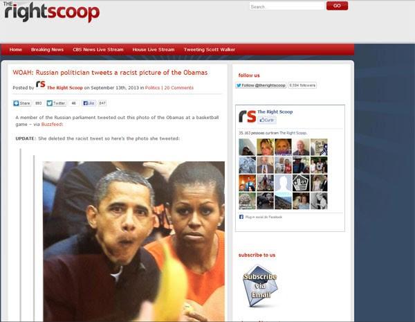 Fotomontagem publicada pela deputada russa foi reproduzida em outros sites. (Foto: Reprodução/ therightscoop.com)
