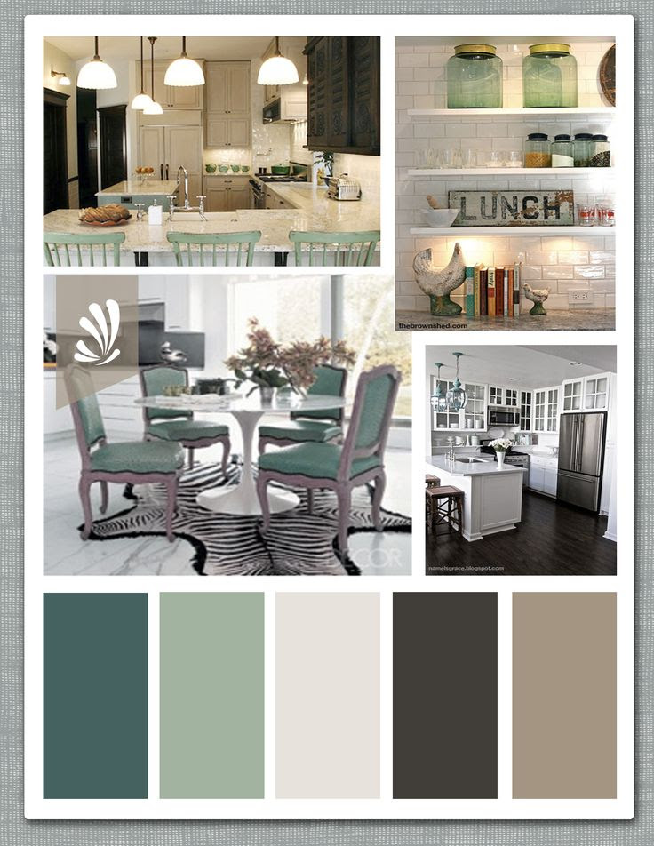Emerald green, Sage, Vanilla, Espresso and Taupe for an open Kitchen.