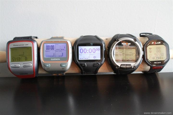 Garmin FR305, FR310XT, FR910XT, Timex Global Trainer and Polar RCX5 size comparison