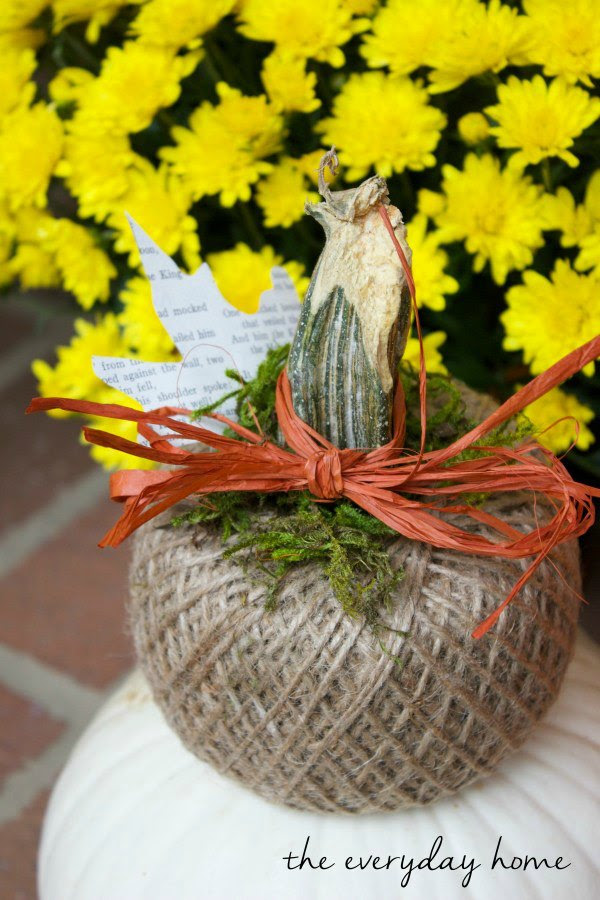 DIY twine pumpkin project featured at Talk of the Town