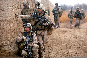 U.S. Marine Corps Lance Cpls. Daniel Garner (l...