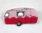 Retro Caravan Brooch - Pink - Made to Order