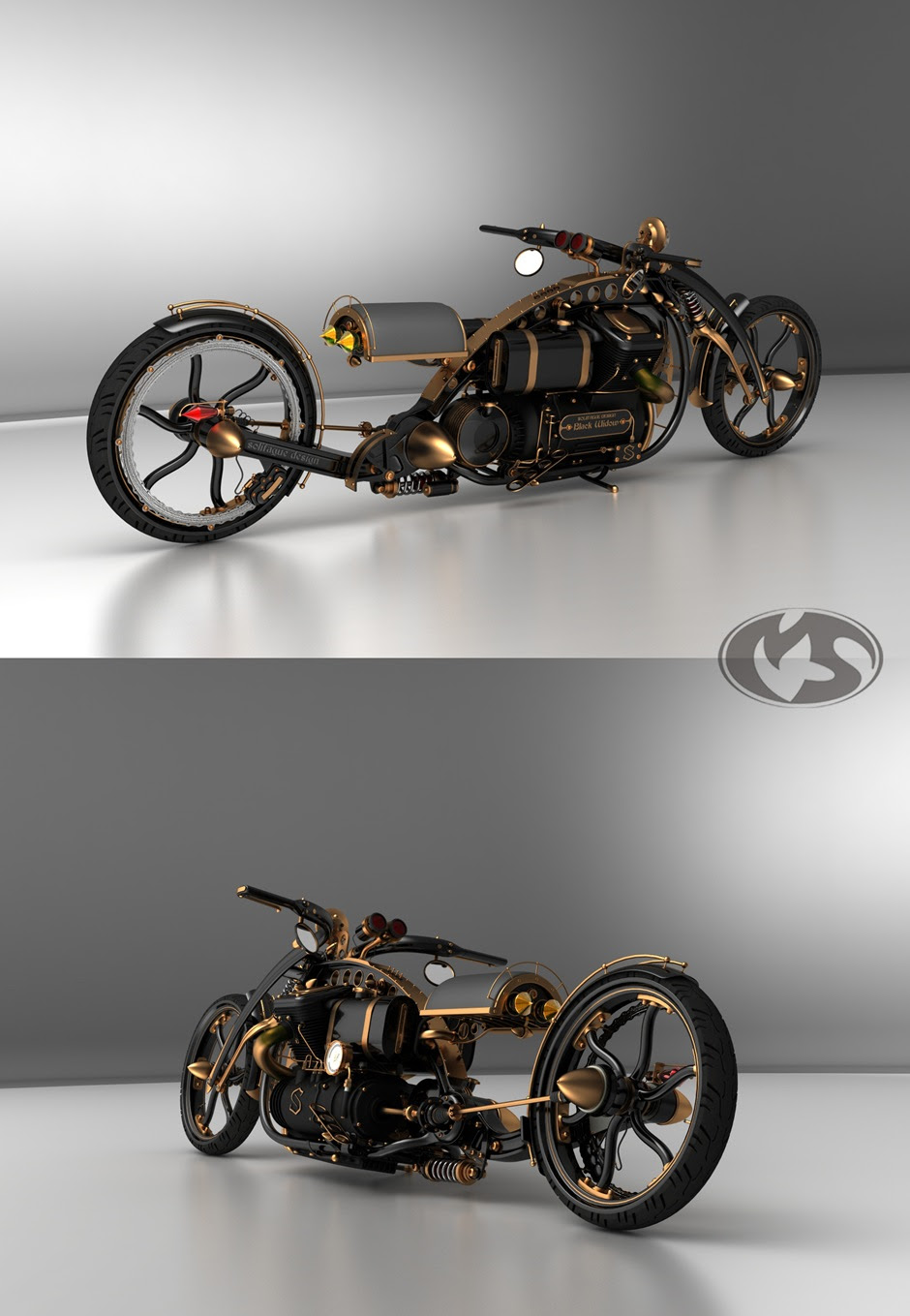 customsteampunkmotorcyclechopper thumb Black Widow Steampunk Chopper Extreme Custom Motorcycle Mod