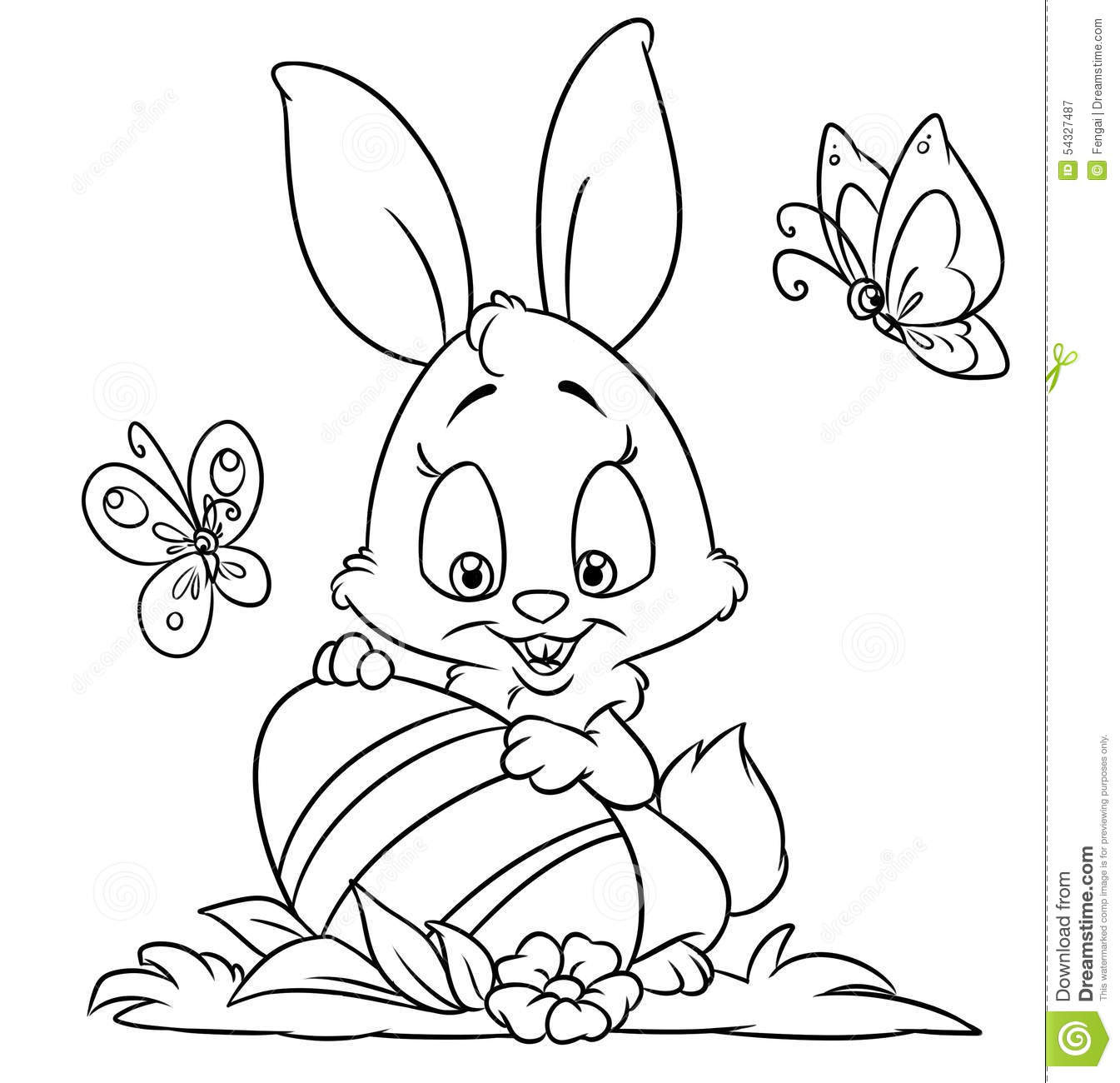 Happy Easter Bunny Coloring Pages Stock Illustration ...