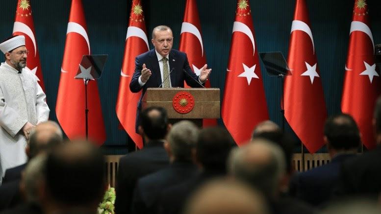 File Photo: O Τούρκος πρόεδρος Ερντογάν σε ομιλία του. Φωτογραφία via Τουρκική Προεδρία.