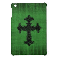Green iPad Mini Case with Gothic Cross