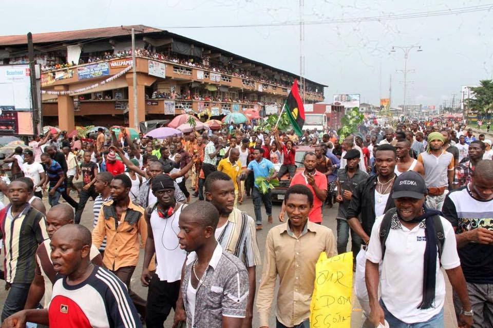 Image result for Crowd of both IPOB members and Biafrans is excitedly waiting for the passage of the leader of IPOB, Mazi Nnamdi Kanu, as he goes to Owerri today