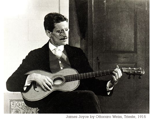 James Joyce playing the guitar photograph by Ottacaro Weiss