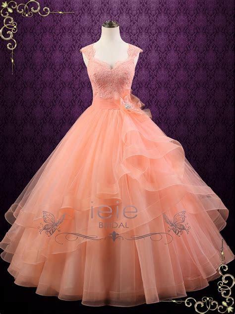 Peach Colored Ball Gown Wedding Dress   Persi   ieie Bridal