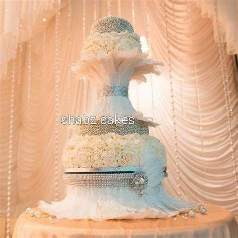 Diamante & Feather wedding cake stand many feather colours