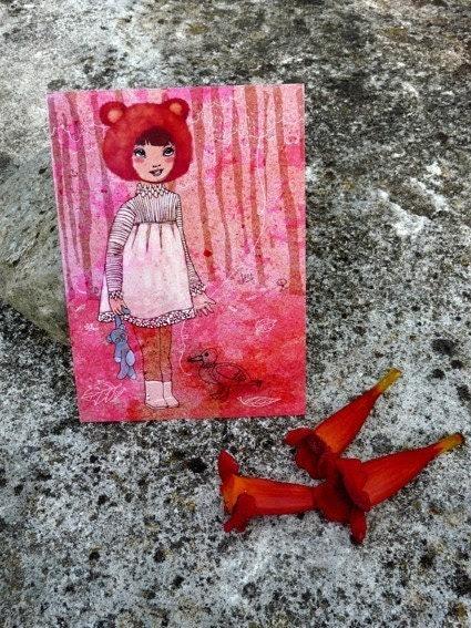 Maya in the fall   ...........................Art postcard