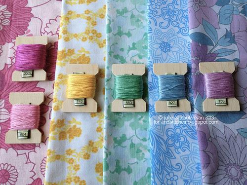 Vintage Sheet Inspired thread palette