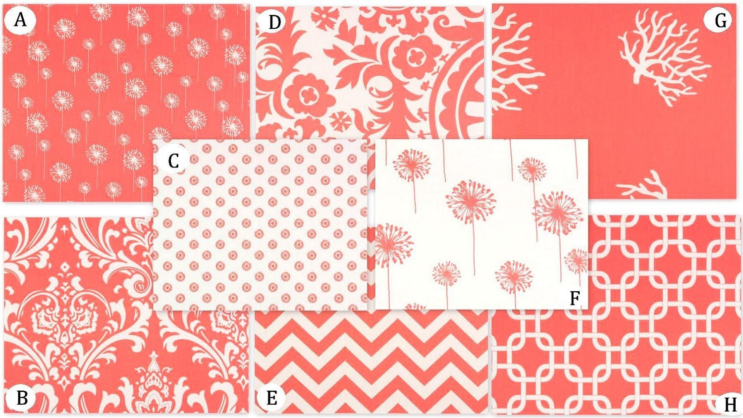 Coral Custom Crib Bedding Set YOU DESIGN Coral by RockyTopDesign