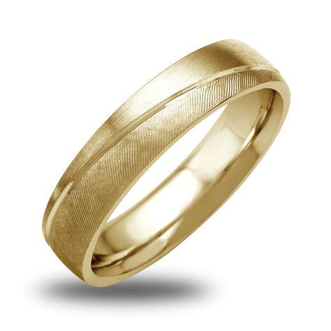 14K 18K White Or Yellow Gold Satin Textured Mens Wedding
