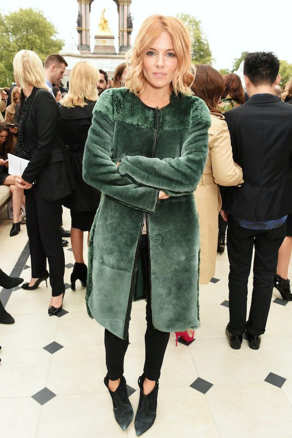 Le Fashion Blog Ways To Wear Green Jacket Fall Winter Style Long Wavy Bob Fur Coat Black Skinny Jeans Pointed Suede Boots Sienna Miller Via Harpers Bazaar
