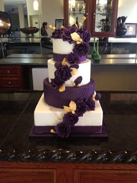 Plum and gold wedding cake by www.imagineitcake.com