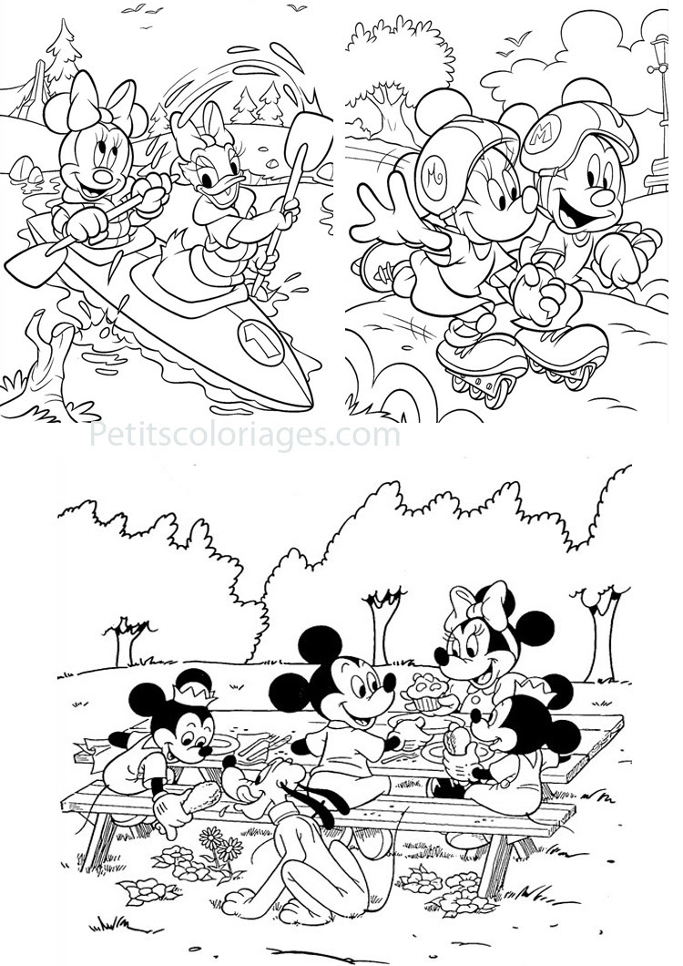 Petits coloriages minnie kayak daisy mickey roller pique nique pluto