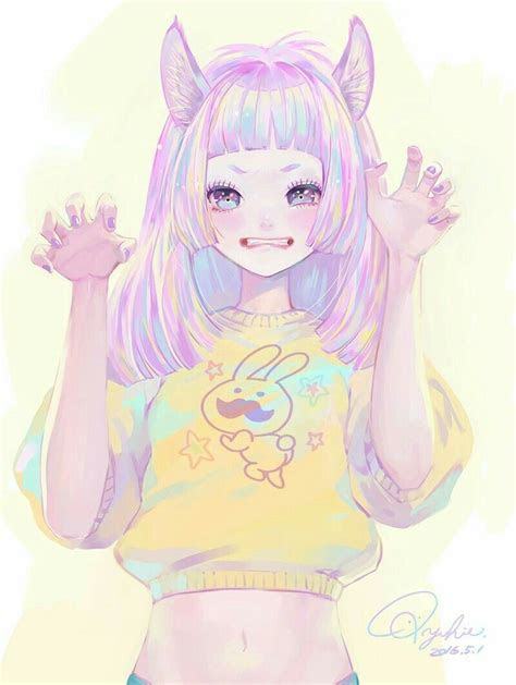 anime cute neko pop aestheticanime pastel colorful