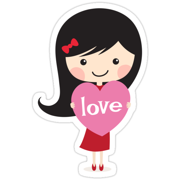 """Cute cartoon girl holding a love heart"" Stickers by ..."